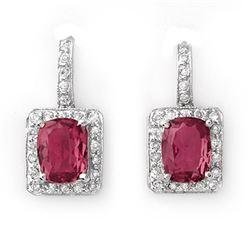 3.50 CTW Pink Tourmaline & Diamond Earrings 14K White Gold - REF-74F2N - 10995