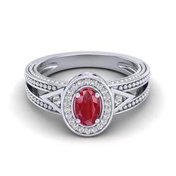 0.83 CTW Ruby & VS/SI Diamond Designer Solitaire Halo Fashion Ring 10K White Gold - REF-25A8X - 2083