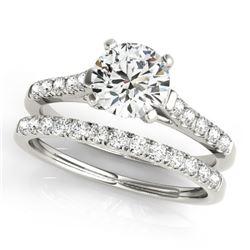 1.45 CTW Certified VS/SI Diamond Solitaire 2Pc Wedding Set 14K White Gold - REF-373Y8K - 31694