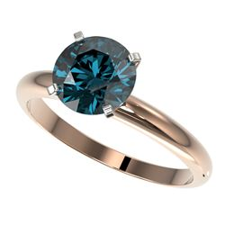 2 CTW Certified Intense Blue SI Diamond Solitaire Engagement Ring 10K Rose Gold - REF-417Y6K - 32939