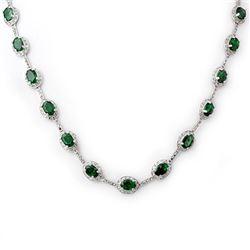 21.0 CTW Emerald & Diamond Necklace 14K White Gold - REF-252M2H - 10418