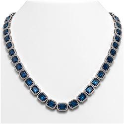 56.69 CTW London Topaz & Diamond Halo Necklace 10K White Gold - REF-700H8A - 41366