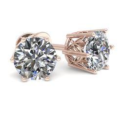 1.0 CTW Certified VS/SI Diamond Stud Solitaire Earrings 18K Rose Gold - REF-178M2H - 35819