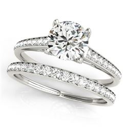 1.53 CTW Certified VS/SI Diamond Solitaire 2Pc Wedding Set 14K White Gold - REF-230X2T - 31598