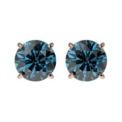 1.50 CTW Certified Intense Blue SI Diamond Solitaire Stud Earrings 10K Rose Gold - REF-127H5A - 3307