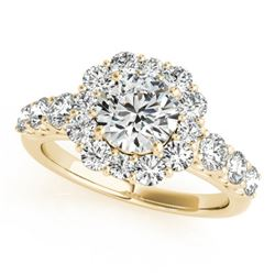 2.25 CTW Certified VS/SI Diamond Solitaire Halo Ring 18K Yellow Gold - REF-445A3X - 26268