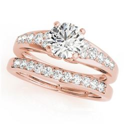 1.5 CTW Certified VS/SI Diamond Solitaire 2Pc Wedding Set 14K Rose Gold - REF-225T3M - 31719
