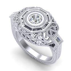 0.75 CTW VS/SI Diamond Art Deco Ring 18K White Gold - REF-200H2A - 37043