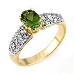 1.50 CTW Green Tourmaline & Diamond Ring 10K Yellow Gold - REF-52A8X - 11043