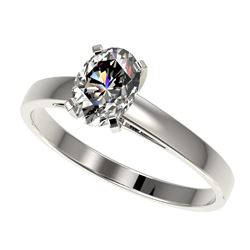 1 CTW Certified VS/SI Quality Oval Diamond Solitaire Ring 10K White Gold - REF-297M2H - 32991