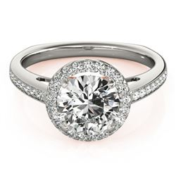 0.8 CTW Certified VS/SI Diamond Solitaire Halo Ring 18K White & Rose Gold - REF-136W2F - 26955