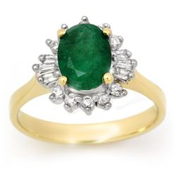 1.78 CTW Emerald & Diamond Ring 14K Yellow Gold - REF-46M5H - 13647