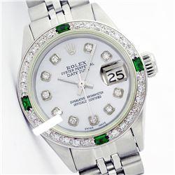 Rolex Ladies Stainless Steel, Diam Dial & Diam/Emerald Bezel, Sapphire Crystal - REF-426Y2X