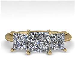2.0 CTW Princess VS/SI Diamond 3 Stone Designer Ring 18K Yellow Gold - REF-390X2T - 32473