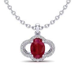 2 CTW Ruby & Micro Pave VS/SI Diamond Necklace 10K White Gold - REF-30H2A - 20639