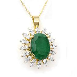 6.21 CTW Emerald & Diamond Pendant 14K Yellow Gold - REF-125K5W - 12839