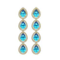 7.81 CTW Swiss Topaz & Diamond Halo Earrings 10K Yellow Gold - REF-137Y3K - 41173