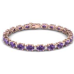 19.7 CTW Amethyst & VS/SI Certified Diamond Eternity Bracelet 10K Rose Gold - REF-104K2W - 29358
