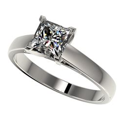1.25 CTW Certified VS/SI Quality Princess Diamond Solitaire Ring 10K White Gold - REF-372K3W - 33013
