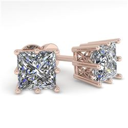 1.0 CTW VS/SI Princess Diamond Stud Solitaire Earrings 18K Rose Gold - REF-178F2N - 35828