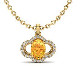1.75 CTW Citrine & Micro Pave VS/SI Diamond Necklace 10K Yellow Gold - REF-29Y5K - 20629