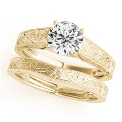 1 CTW Certified VS/SI Diamond Solitaire 2Pc Wedding Set 14K Yellow Gold - REF-364Y2K - 31870