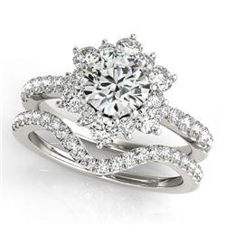 2.41 CTW Certified VS/SI Diamond 2Pc Wedding Set Solitaire Halo 14K White Gold - REF-544X8T - 30945