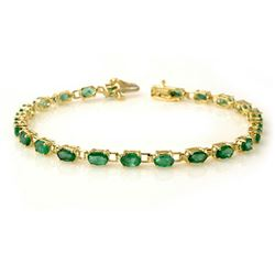 5.0 CTW Emerald Bracelet 10K Yellow Gold - REF-43H3A - 13454