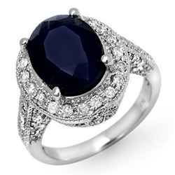 7.0 CTW Blue Sapphire & Diamond Ring 14K White Gold - REF-102T8M - 11894