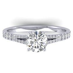 1.36 CTW Certified VS/SI Diamond Solitaire Art Deco Ring 14K White Gold - REF-353Y3K - 30375