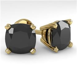 12 CTW Cushion Black Diamond Stud Designer Earrings 14K Yellow Gold - REF-323F6N - 38396