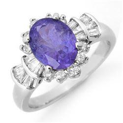 2.90 CTW Tanzanite & Diamond Ring 18K White Gold - REF-125A5X - 14448
