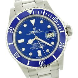 Rolex Men's Submariner, QuickSet, Diam Dial w/ Rotatable Blue Insert Bezel - REF-749N5A