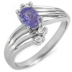 0.70 CTW Tanzanite & Diamond Ring 10K White Gold - REF-23K6W - 10124