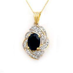 3.88 CTW Blue Sapphire & Diamond Pendant 14K Yellow Gold - REF-85F5N - 13097