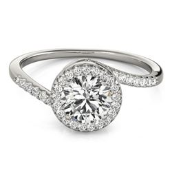 0.75 CTW Certified VS/SI Diamond Bypass Solitaire Ring 18K White Gold - REF-114F5N - 27654