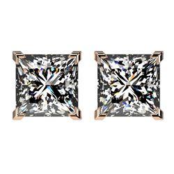 2.50 CTW Certified VS/SI Quality Princess Diamond Stud Earrings 10K Rose Gold - REF-840H2A - 33115