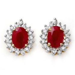 4.44 CTW Ruby & Diamond Earrings 14K Yellow Gold - REF-71T3M - 13018