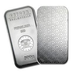 One piece 500 gram 0.999 Fine Silver Bar Geiger Security Line Series-74693