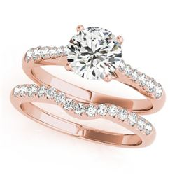 1.23 CTW Certified VS/SI Diamond Solitaire 2Pc Wedding Set 14K Rose Gold - REF-203F3N - 31578