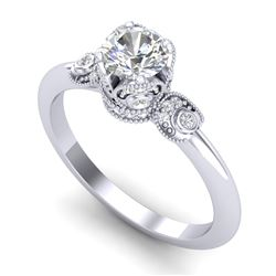 1 CTW VS/SI Diamond Solitaire Art Deco Ring 18K White Gold - REF-157Y5K - 36851