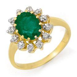 1.46 CTW Emerald & Diamond Ring 10K Yellow Gold - REF-23F3N - 12714