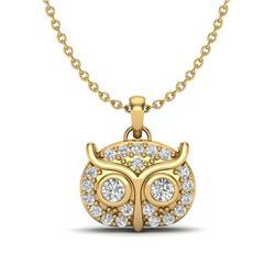 0.17 CTW Micro Pave VS/SI Diamond Necklace 18K Yellow Gold - REF-28Y5K - 20384