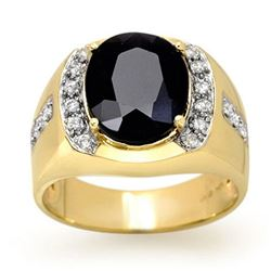 6.58 CTW Blue Sapphire & Diamond Men's Ring 10K Yellow Gold - REF-73M5H - 13470