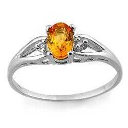 0.77 CTW Yellow Sapphire & Diamond Ring 10K White Gold - REF-17W3F - 11729