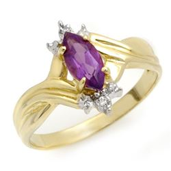 0.52 CTW Amethyst & Diamond Ring 10K Yellow Gold - REF-13W6F - 10501