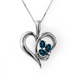 1.10 CTW Blue Sapphire & Diamond Pendant 18K White Gold - REF-44A5X - 12705