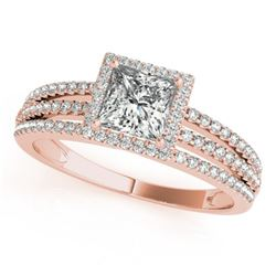 0.95 CTW Certified VS/SI Princess Diamond Solitaire Halo Ring 18K Rose Gold - REF-138N5Y - 27178