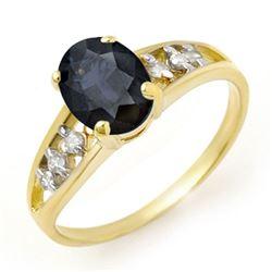 1.60 CTW Blue Sapphire & Diamond Ring 10K Yellow Gold - REF-16X9T - 13726