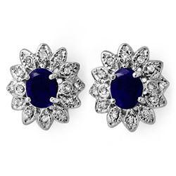 3.0 CTW Blue Sapphire & Diamond Earrings 14K White Gold - REF-82A8X - 13854